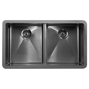 "Karran E550, Edge E-550 33-7/8"" x 19-1/2"" Undermount Kitchen Sink, Double Equal Bowls"