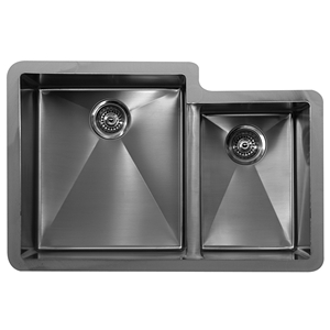"Karran E560R, Edge 32"" x 21-1/2"" Undermount Kitchen Sink, Double Large/Small Bowls"