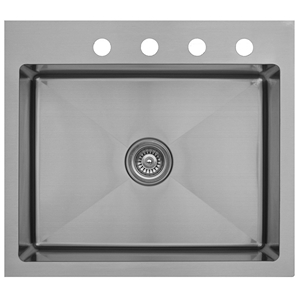 "Karran EL-30, 25"" x 22"" 16 Gauge Top Mount Kitchen Sink Single Bowl, Stainless Steel"