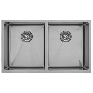 "Karran EL-76, 32"" x 19"" 16 Gauge Undermount Double Bowl Kitchen Sink, Stainless Steel"