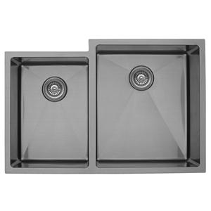 """Karran EL-78L, 33"""" x 22"""" 16 Gauge Undermount Double Bowl Kitchen Sink, Stainless Steel"""