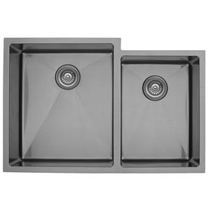"""Karran EL-78R, 33"""" x 22"""" 16 Gauge Undermount Double Bowl Kitchen Sink, Stainless Steel"""