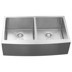 "Karran EL-88, 36"" x 22-1//4"" 16 Gauge Undermount Kitchen Sink with Apron Double Bowl, Stainless Steel"