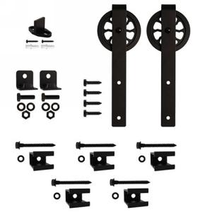"""Barn Door Hardware Kit for Aluminum Flat Rails with 5"""" Hook Hanger, Black, KV CO FR-HK-05"""