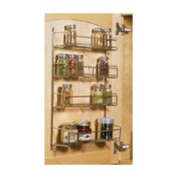 KV SR15-1-FN, 10-13/16 Cabinet Door Spice Rack, KV Series, Frosted Nickel Wire, 10-13/16 W x 3-7/8 D x 20 H, Knape and Vogt