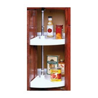 KV PPN24S-W, 24in Polymer Pie-Cut Shaped Lazy Susan, KV Series, 2-Shelf Set with Hardware, Door Mount Dependently Rotating, Knape and Vogt