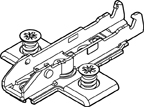 Grass F058139875217 19mm Tiomos Wing Plate, Steel, 2-Point Fixing, Pre-mounted Euro Screws