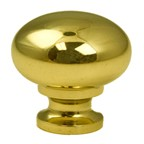 "Berenson 7317-303-B, Polished Brass 3/4"" Knob, Zinc Die Cast"