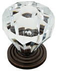 "Liberty Hardware P30122-STC-C, Statuary Bronze & Clear 1-1/4"" Knob, Multiple Base Materials"
