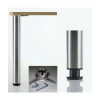 Meier 620-8S-AO, 3in dia., Steel Table Leg, 34-1/4 Height with 1-1/8 Adjustment, Heidelberg Series, Aluminum Ridged