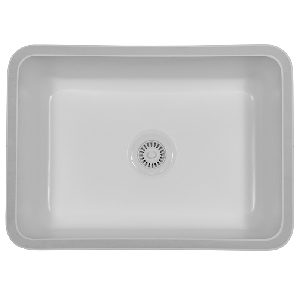 "Karran NOVW, Nova 27"" x 19-1/4"" Acrylic Kitchen Sink, Undermount Large Single Bowl, White"