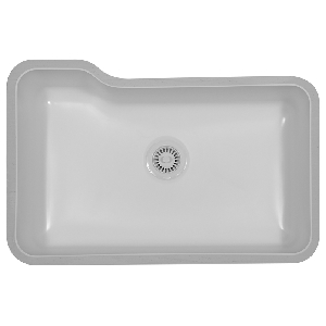 "Karran MONAB, Monaco 31"" x 19"" Acrylic Kitchen Sinks, Undermount Single Bowl, Bisque"
