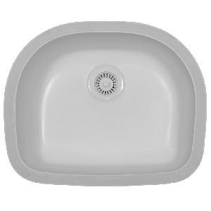 """Karran BENW, Benton 23-3/8"""" x 19"""" Acrylic D-Shaped Undermount Kitchen Sink, Single Bowl, White"""