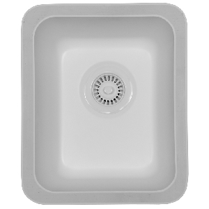"Karran DELW, Del Mar 14-1/4"" x 17-1/4"" Acrylic Undermount Kitchen Sink, Single Bowl, White"