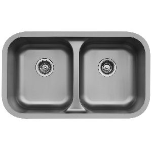 "Karran E350, Edge 32-1/4"" x 19"" Undermount Kitchen Sink, Double equal Bowls"