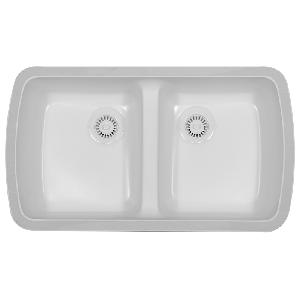 "Karran MERW, Meridian 33"" x 19"" Acrylic Kitchen Sink, Undermount Double Equal Bowls, Bisque"