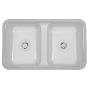 "Karran NEWW, Newport 31-5/8"" x 19"" Acrylic Kitchen Sinks, Undermount Double Equal Bowls, White"