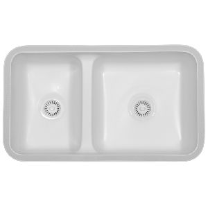 "Karran KINB, Kingston 32-1/4"" x 18-3/4"" Acrylic Kitchen Sink, Undermount Double Large/Small Bowls, Bisque"