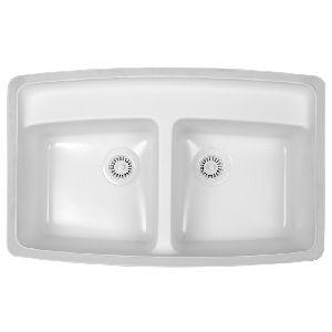 "Karran FULB, Fulton 32-3/4"" x 21"" Acrylic Sink, Undermount Double Equal Bowls With Faucet Deck, Bisque"