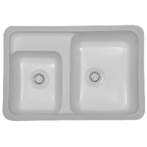"Karran CONW, Concord 31-7/8"" x 21-5/8"" Acrylic Undermount Kitchen Sink, Double Large/Small Bowls, White"
