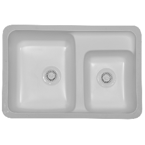 "Karran LANW, Landin 31-7/8"" x 21-5/8"" Acrylic Kitchen Sink, Undermount Double Large/Small Bowls, White"