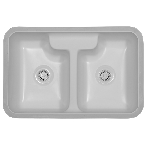 "Karran HAMW, Hampton 31-3/4"" x 20-3/4"" Acrylic Kitchen Sink, Undermount Double Equal Bowls, White"