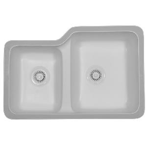 "Karran TUSW, Tuscany 31-7/8"" x 21-1/4"" Acrylic Kitchen Sinks, Undermount Double Large/ Small Bowls, White"