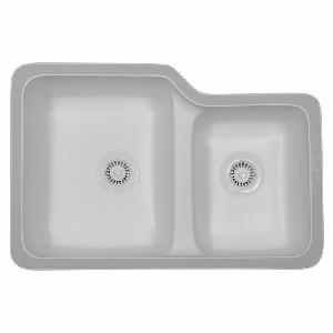 "Karran SORB, Sorrento 31-7/8"" x 21-1/4"" Acrylic Kitchen Sinks, Undermount Double Large/Small Bowls, Bisque"