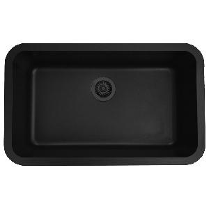 "31"" Seamless Undermount Large Single Bowl Quartz Kitchen Sink Concrete Karran Q-340-CN"
