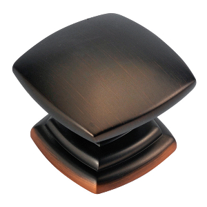 """1-1/2"""" Refined Bronze Knob, Euro-Contemporary, Hickory Hardware P2163-RB"""