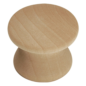 """1"""" Unfinished Wood Knob, Natural Woodcraft, Hickory Hardware P183-UW"""