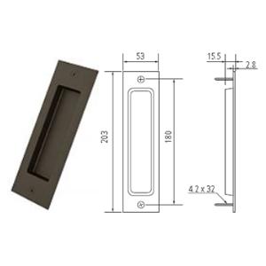 """8"""" Barn Door Flush Handle, Oil Rubbed Bronze, WE Preferred 77539 53 305"""