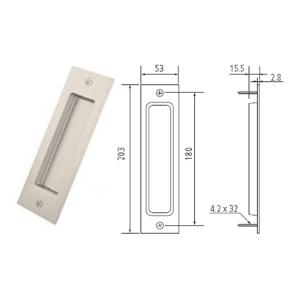 "8"" Barn Door Flush Handle, Satin Nickel, WE Preferred 77539 59 303"