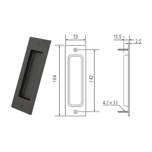 "6.5"" Barn Door Flush Handle, Matte Black, WE Preferred 77539 51 301"