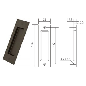 "6.5"" Barn Door Flush Handle, Oil Rubbed Bronze, WE Preferred 77539 53 302"