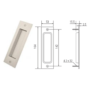 "6.5"" Barn Door Flush Handle, Satin Nickel, WE Preferred 77539 59 300"