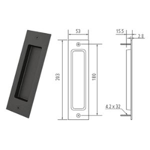 """8"""" Barn Door Flush Handle, Matte Black, WE Preferred 77539 51 304"""
