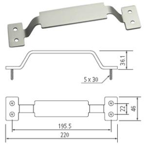 """8.6"""" Barn Door Rectangle Handle, Satin Nickel, WE Preferred 77519 59 306"""