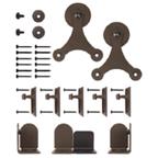 Barn Door Hardware Kit for Round Rails, Atlantis, Black, KV CO RT-TSBK-06