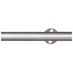 """78.75"""" Barn Door Rail with 4 Mounting Brackets, Round, Stainless Steel, KV CO SS-RR-65-A"""