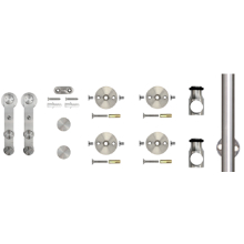 "78.75"" Barn Door Hardware Kit, Face Mount Strap Stick Style Hangers, Round Rail, Stainless Steel, KV CO SS-FMSS-65"