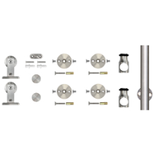 """78.75"""" Barn Door Hardware Kit, Top Mount Stick Style Hangers, Round Rail, Stainless Steel, KV CO SS-TMSS-65"""