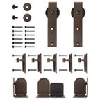 Barn Door Hardware Kit for Round Rails, Salzburg, Satin Nickel, KV CO RT-HKSN-06