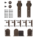 Barn Door Hardware Kit for Round Rails, Salzburg, Black, KV CO RT-HKBK-06