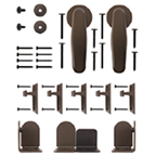 Barn Door Hardware Kit for Round Rails, Venice , Oil Rubbed Bronze, KV CO RT-VSBZ-06