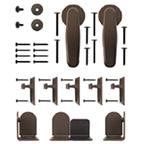 Barn Door Hardware Kit for Round Rails, Venice, Satin Nickel, KV CO RT-VSSN-06