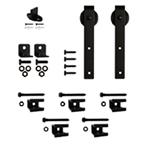 """Barn Door Hardware Kit for Aluminum Flat Rails with 3"""" Hook Hanger, Black, KV CO FR-HK-08"""