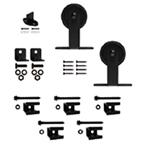 """Barn Door Hardware Kit for Aluminum Flat Rails with 3"""" Top Mount Hanger, Black, KV CO FR-TM-03"""