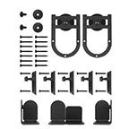 Barn Door Hardware Kit for Round Rails, Rushmore, Short Bracket, Satin Nickel, KV CO RT-HSSN-06