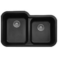 "32"" Seamless Undermount Large/Small Bowl Quartz Kitchen Sink Black Karran Q-360R-BL"